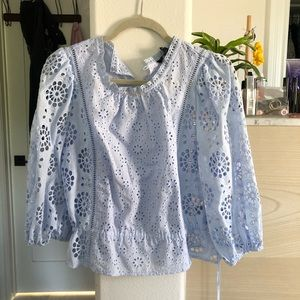 Eyelet blouse light blue
